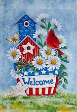 Patriotic Welcome Bird House with Cardinal - porch size