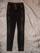 NWT ~ NICKI MINAJ stretchy black knit & pleather leggings pants ~ women's S