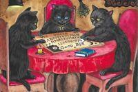 4x6 LE HALLOWEEN POSTCARD RYTA VINTAGE STYLE 2/200 BLACK CAT OUIGI BOARD SPIRIT