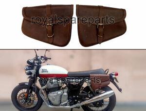 Royal Enfield GT & Interceptor 650 Genuine Leather Brown Pannier Bags Pair D3