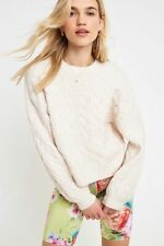 New Urban Outfitters Yael Cable Knit Crew-Neck Jumper, Large, Cream RRP £49