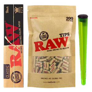 RAW PRE ROLLED TIPS NATURAL UNREFINED PRE ROLLED BAG OF 200 WITH OR WITHOUT PAPE