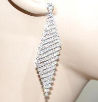 ORECCHINI strass argento donna pendenti rombi cristalli brillantini regalo CC114