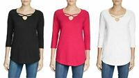 NEW Eddie Bauer Ladies' ¾ Sleeve Cross-Front Tunic Shirt VARIETY Size and Color!