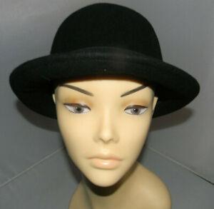 Ladies 100% Black Wool Round Cloche Hats Sizes: 57cm
