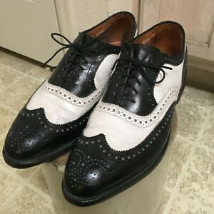ALLEN EDMONDS BROADSTREET SHOES 10C MADE IN USA LEATHER BLACK & WHITE