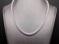 Fope 18k White Gold 4mm Wide Mesh Link Chain Snake Pendant Necklace 17 inch