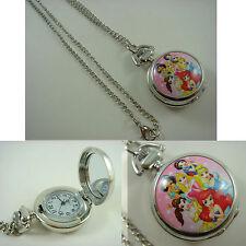 Princess Belle Aurora Ariel Ladies Child Fashion Pocket Watch Necklace + Badge