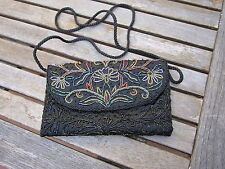 "Small Black Beaded Evening Bag Tuck Strap For Clutch Multi-Color Flap 5"" by 8"""