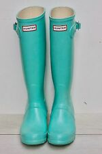 Hunter Original Tall Gloss Rain Boots US Size 6F UK 4 Tiffany Blue Mint