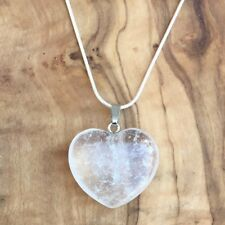 "Clear Quartz Crystal Heart Pendant 25mm with 20"" Silver Necklace Focus Clarity"