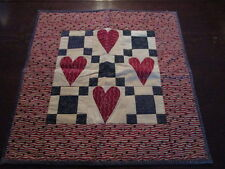 BEAUTIFUL Vintage HEARTS QUILT Doll QUILT Wall Hanger ~ NICE prints Blues Reds
