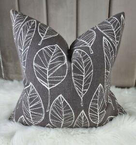 """17""""x17"""" Aspen Leaf Fabric Cushion Cover John Lewis Leaf Trail  Steel Grey"""