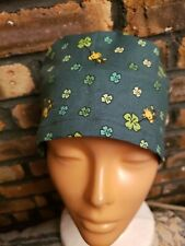 Woodstock. Dark Green Handmade Surgical Scrub Caps