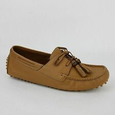 New Gucci Men's Medium Brown Leather Bamboo Tassel Loafer Driver 367923 7723