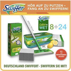 SET Swiffer Bodenwischer, +8 Bodentücher + 24 Feuchte Bodentücher mit Zitrusduft