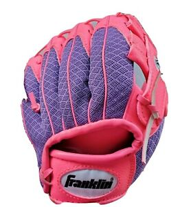 "Franklin 22347T19 Baseball TeeBall Ready To Play 8"" RTP Glove  Pink / Purple RHT"