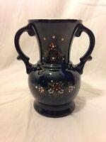 VTG Japan Oriental Brown Urn Hand Painted Red Pottery Vase Mid Century