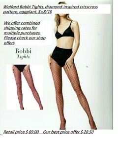 Wolford Bobbi Tights, diamond-inspired crisscross pattern, eggplant, S=8/10