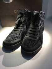 Gucci -  Platinum/Silver Poli Satin Crystal Women Lace Up High Top 39