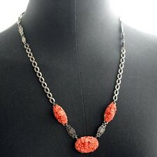 Vintage ART DECO Coral Glass Sterling Necklace