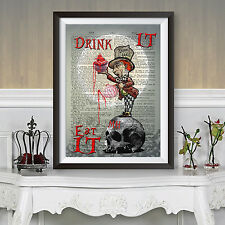 GOTHIC ALICE IN WONDERLAND Mad Hatter skull horror moon DICTIONARY ART POSTER