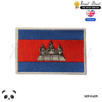 Cambodia National Flag Embroidered Iron On Sew On Patch Badge For Clothes etc