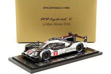 Porsche 919 Hybrid #2 Winner 24h LeMans 2016 Lieb, Dumas, Jani mit Vitrine 1:18