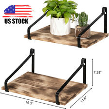 Set of 2 Floating Shelves Wall Mount Rustic Wood Wall Shelves for Kitchen Room