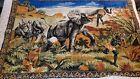 VINTAGE Tapestry / Rug killer Elephant eating man, hunters,Blackamoor,Guns,Lady