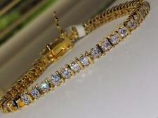 7205 7'' AAA GRADE SIMULATED DIAMOND TENNIS GOLD BRACELET BAR ROUND CLASSIC 9CTS