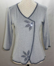 Ladies M&S PER UNA Dressy Grey Embellished Cotton Top Size 16 - Small Fit VGC