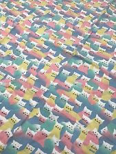 VTG Flannel Baby Receiving Blanket Pastel Cat Cats Collage Swaddle AG