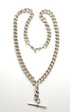 Modern 925 Silver XXL HUGE ANTIQUE STYLE ALBERT CHAIN & T BAR 120g 21.5""