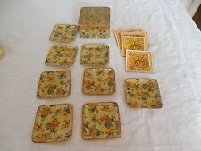 Vintage hand crafted rose, floral design coasters w/11 Hallmark paper coasters