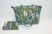 VERA BRADLEY Tote Bag Large Purse Green Blue Floral w/  MATCHING WALLET