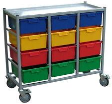 Heavy Duty Portable 12 Drawer Linen Trolley Laundry Clothes Karri Cart Brakes