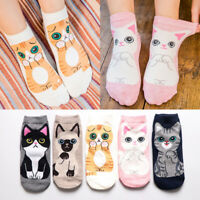 5Pairs Women Fashion Ankle Socks Kawaii Cartoon Cat Cotton Socks Spring Sum-PN
