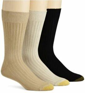 Gold Toe Men's Classic Canterbury Crew Socks (Pack of, Tan/Khaki/Black, Size
