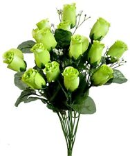14 Lime Green Artificial Rose Buds Silk Wedding Flowers Bouquet Party Decoration