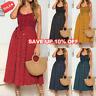 Women Summer Sleeveless Polka Dot Beach Dress Ladies Stretch Holiday Sundress UK