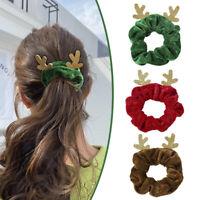 Elk Flannel Scrunchies Velvet Hair Ties Christmas Hair Rope Soft Hair Ring Gift
