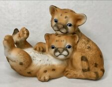 Curious Cougars Blue Eyes Playful Cubs Kittens Porcelain Artist Signed