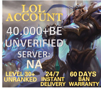 NA League of Legends LOL Account 45.000 - 65.000+ BE IP Level 30+ Smurf Unranked