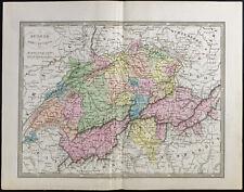 1845 - Carte ancienne Suisse (Frémin, Logerot) Antike Karte der Schweiz