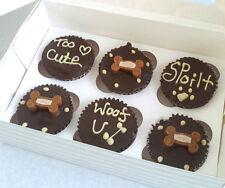 6 boxed dark DOG MUFFINS CUPCAKE CAKES CAKE BIRTHDAY treat puppy personalised