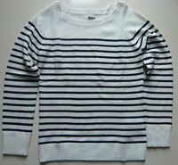 Esprit Pullover Damen Gr. L Baumwolle weiß blau gestreift Langarm