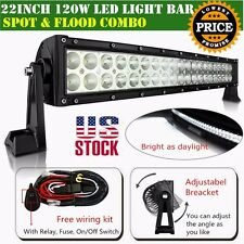 22 inch Led Light Bar Curved Offroad With Wiring Kit Mounting Brackets Jeep 20""