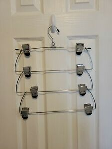 4 Tier Skirt/Pants Hanger - With Adjustable Clips Wardrobe Organizer SPACE SAVER