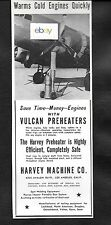 UNITED AIR LINES 1940 DOUGLAS DC-3 ENGINE WARM UP VULCAN PREHEATERS HARVEY CO AD